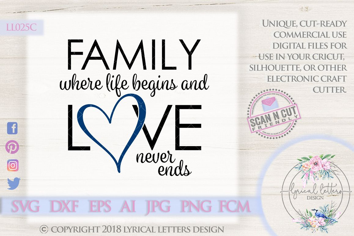 Family Where Life Begins Love Never Ends SVG DXF LL025C example image 1