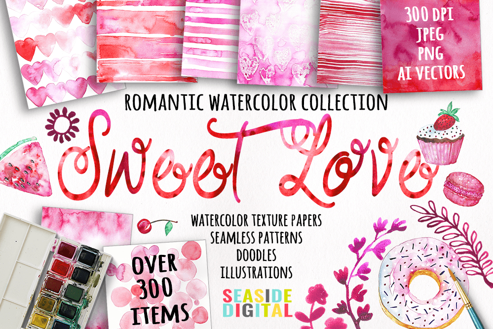Sweet Love Watercolor Collection example image 1