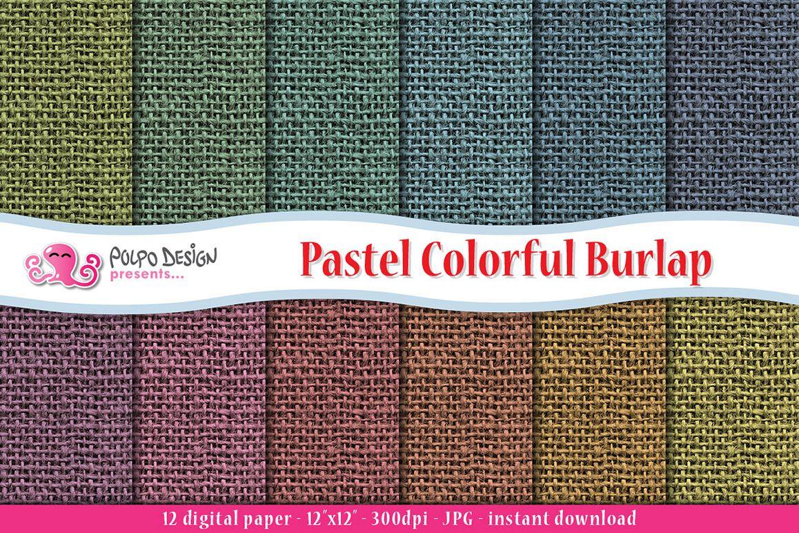 Pastel Burlap digital paper example image 1
