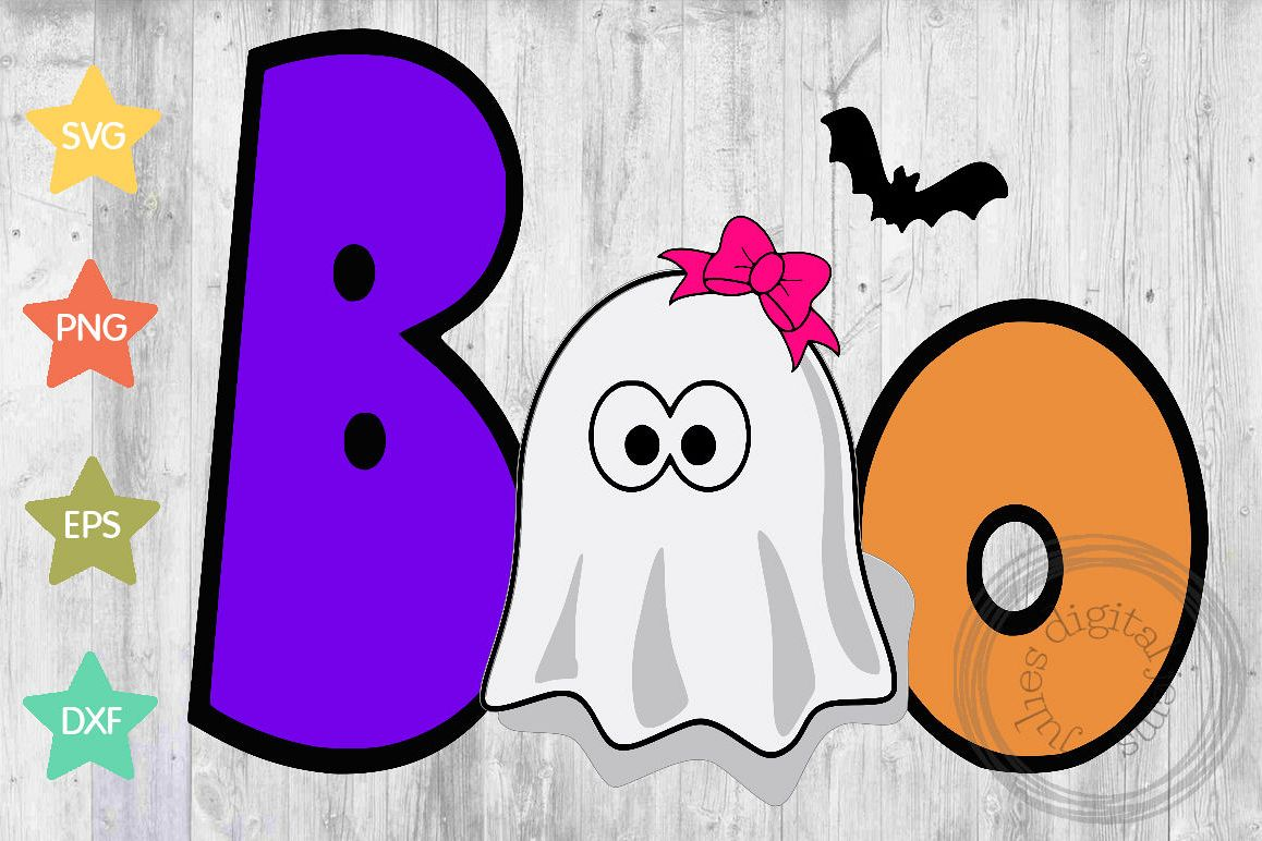 Boo girl ghost SVG, Halloween svg, by Julies digital jems example image 1