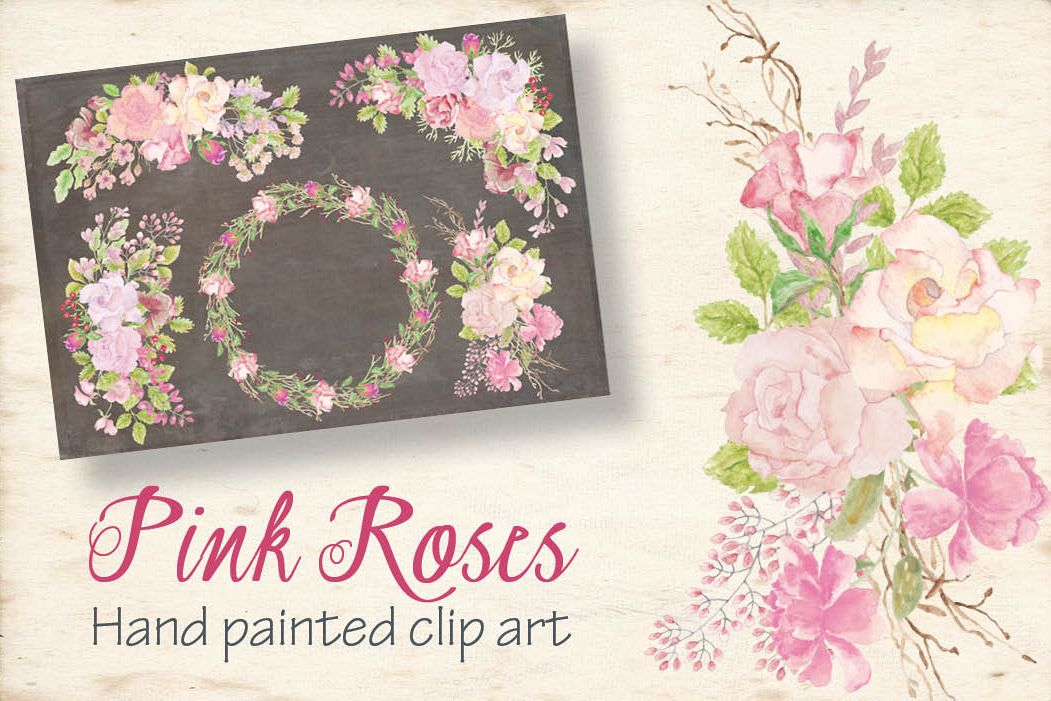 Pink roses in watercolor: set of sprays example image 1