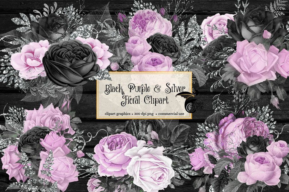 Black Purple and Silver Floral Clipart example image 1
