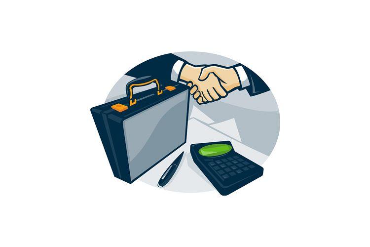 Business Handshake Deal Briefcase Retro example image 1