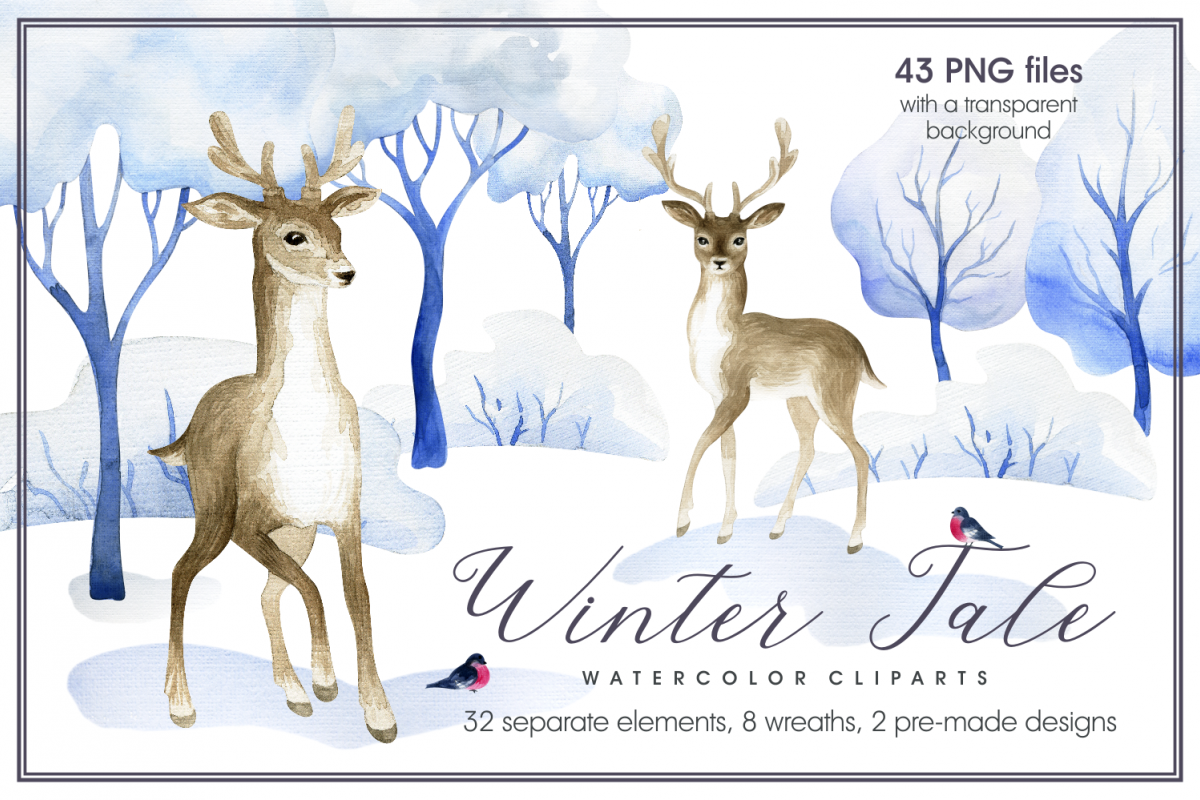 Winter tale. Watercolor cliparts example image 1