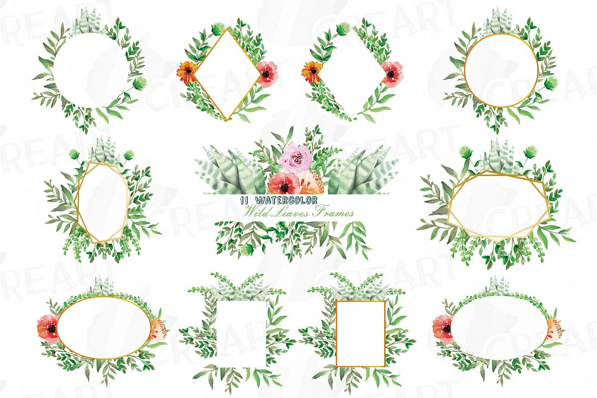picture regarding Printable Boarders identify Watercolor floral wild leaves frames, printable borders