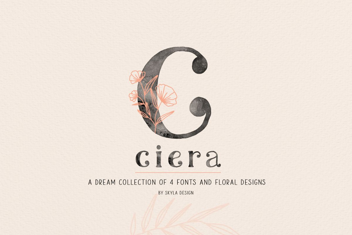 Ciera watercolor svg font family & floral logos clipart example image 1