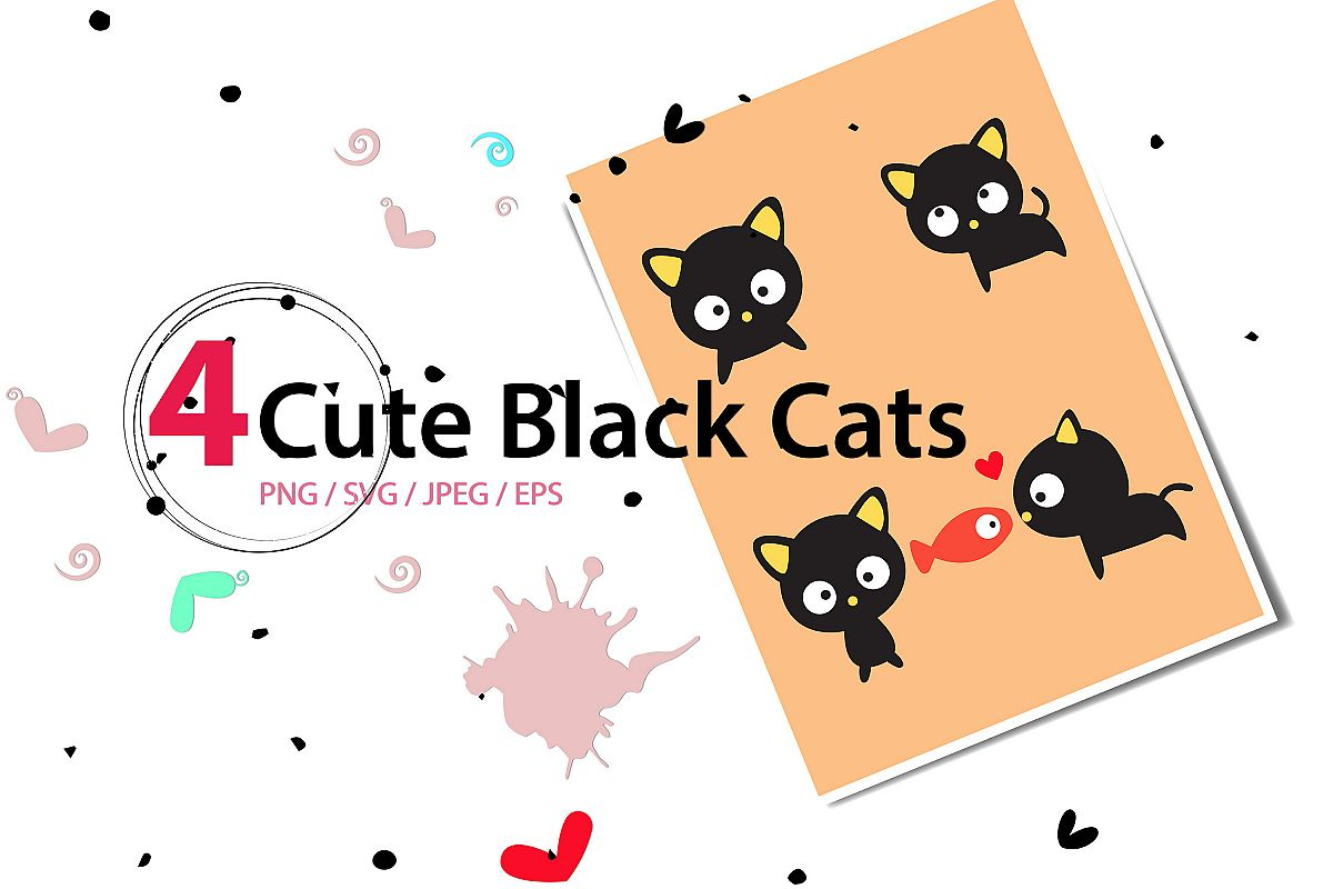 Cute black Cat high res svg, png, eps, jpeg, sticker example image 1