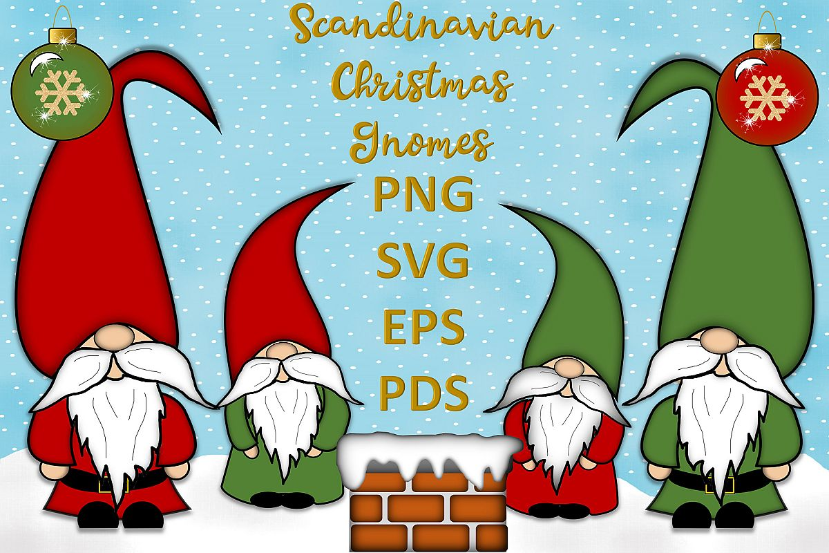 Scandinavian Christmas Gnomes Clipart SVG, PSD, PNG, EPS example image 1