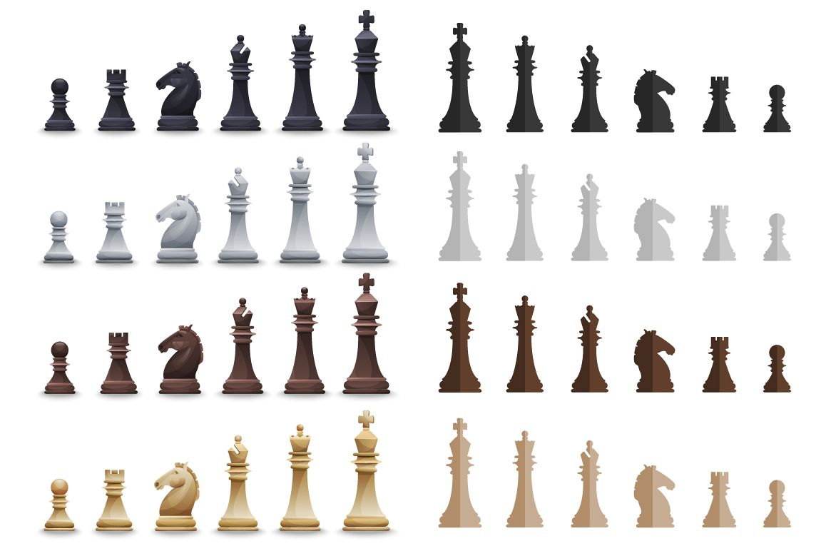 Vector Chess set: 4 sets pieces in 2 slyles, 6 posters, 2 pattern, chessboard example image 1