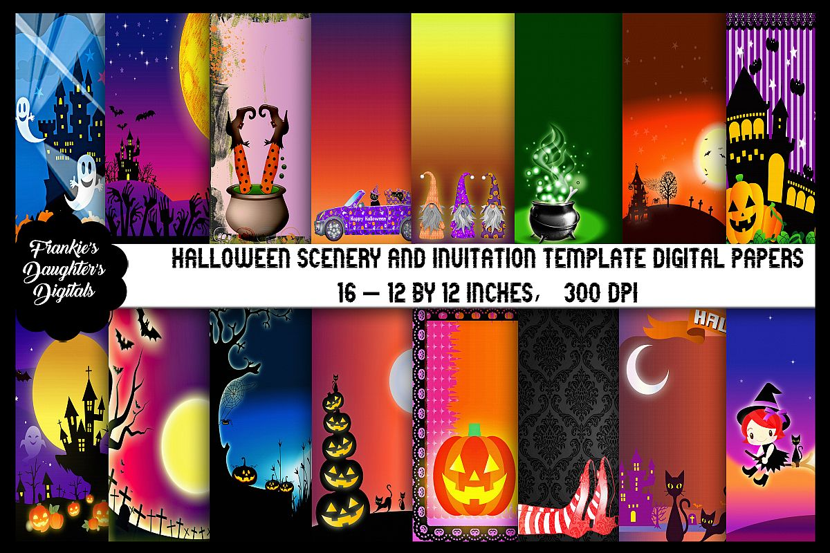 Halloween Scenery and Invitation Template Digital Papers