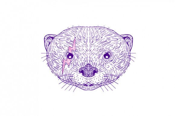 Otter Head Lightning Bolt Drawing example image 1