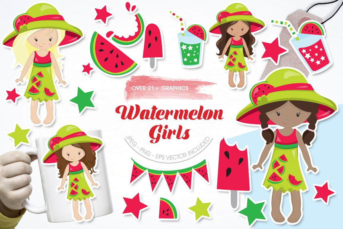 Watermelon Girls graphic and illustrations example image 1