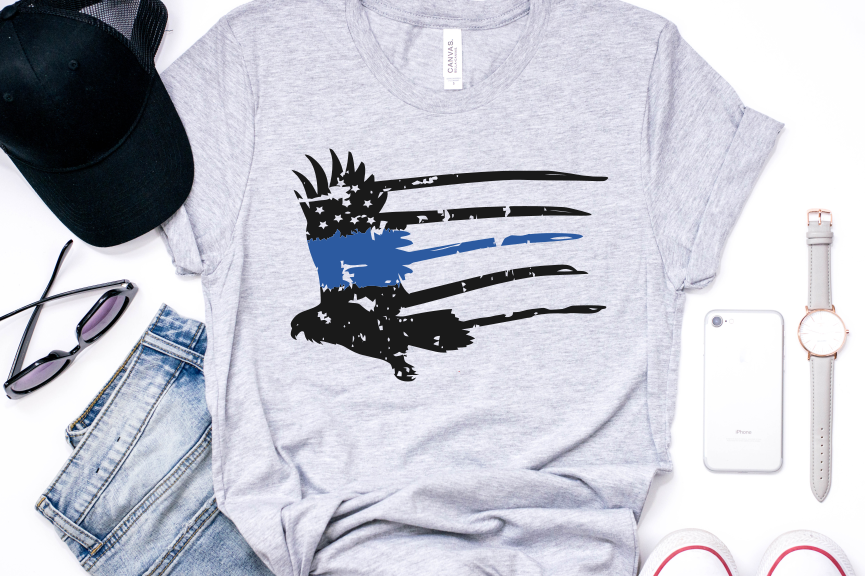 eagle distressed thin blue line  example image 1