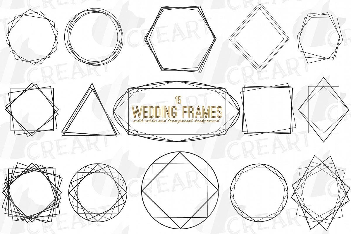 Geometric lineal black frames decor clip art. Wedding border example image 1