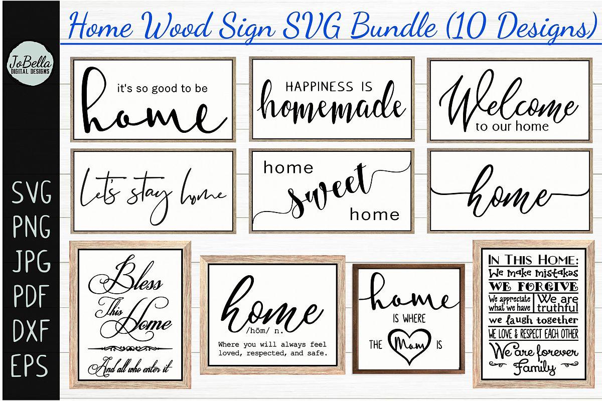 Home Wood Sign SVG Bundle - Farmhouse SVG Bundle example image 1