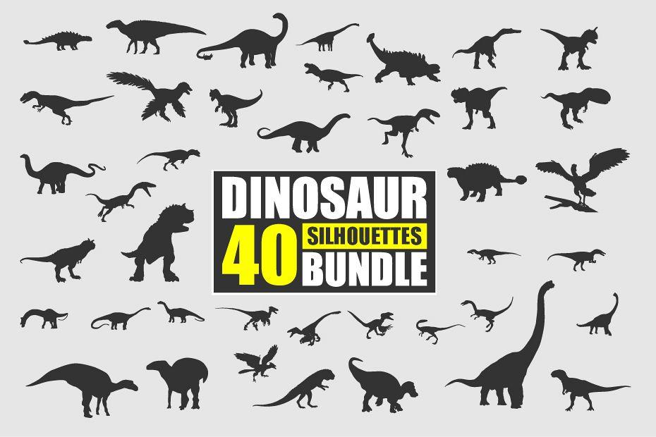 Dinosaur Silhouette Bundle Vector example image 1