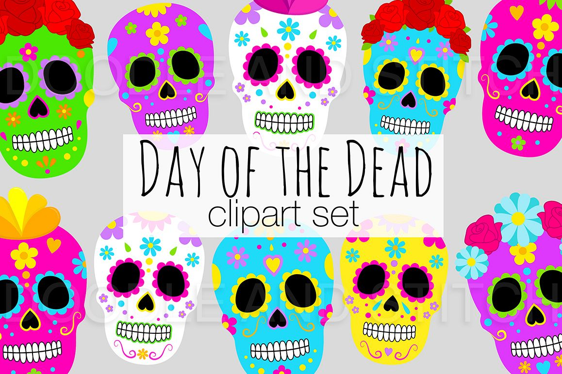 Day of the Dead Clipart Illustrations example image 1
