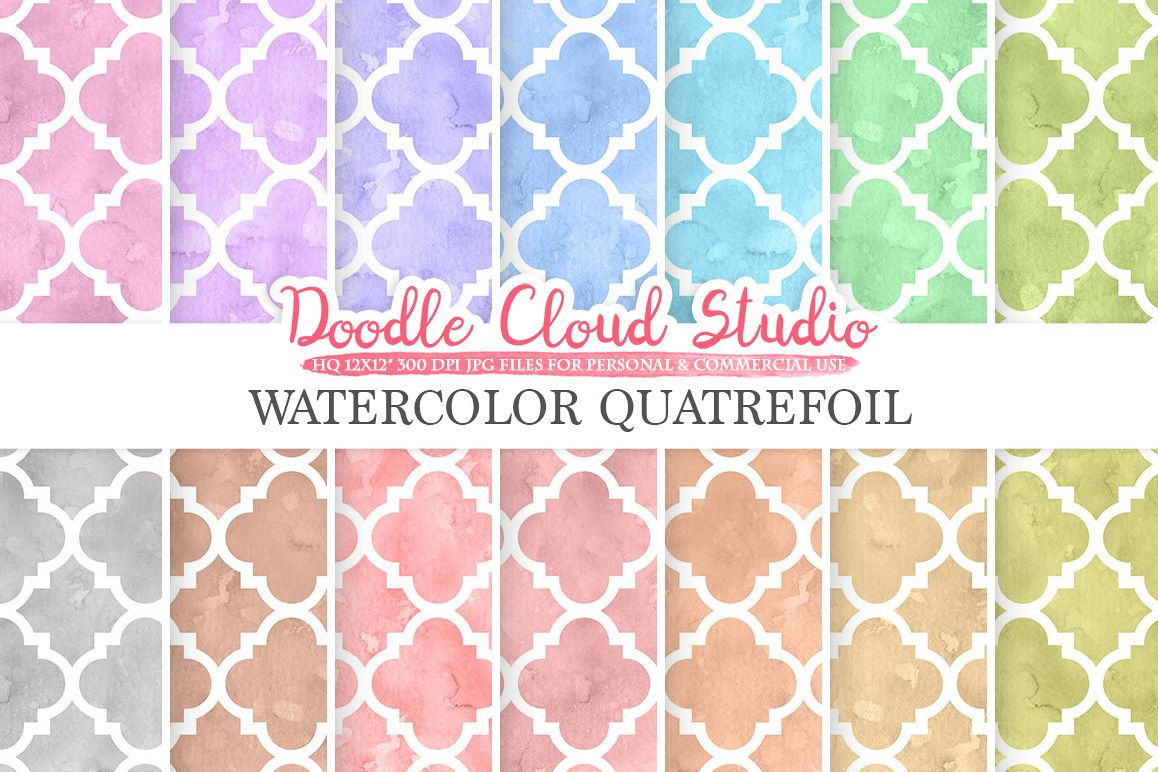 Watercolor Quatrefoil digital paper, Quatrefoil patterns, pastel watercolor background, Instant Download, for Personal & Commercial Use example image 1