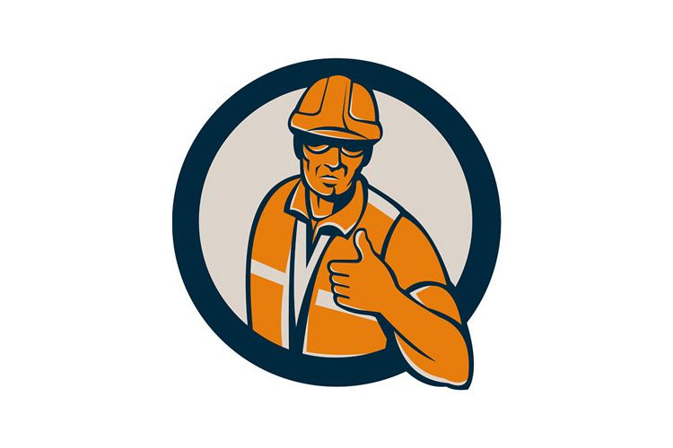 Construction Worker Thumbs Up Circle Retro example image 1