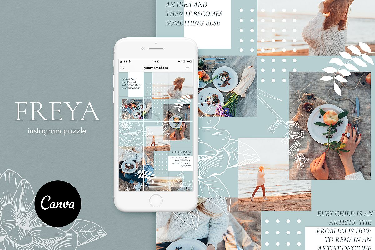 Instagram puzzle template for Canva