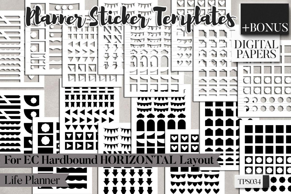 Planner sticker templates, Erin Condren Hardbound Horizontal example image 1