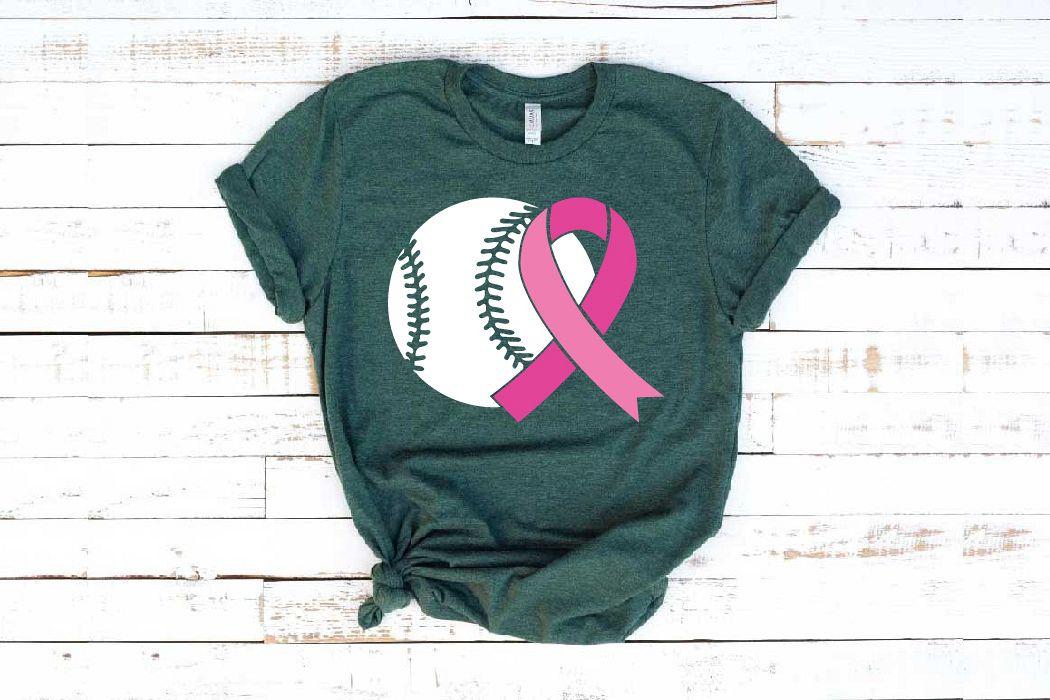 Baseball Tackle Breast Cancer Svg Awareness ribbon 1452s example image 1