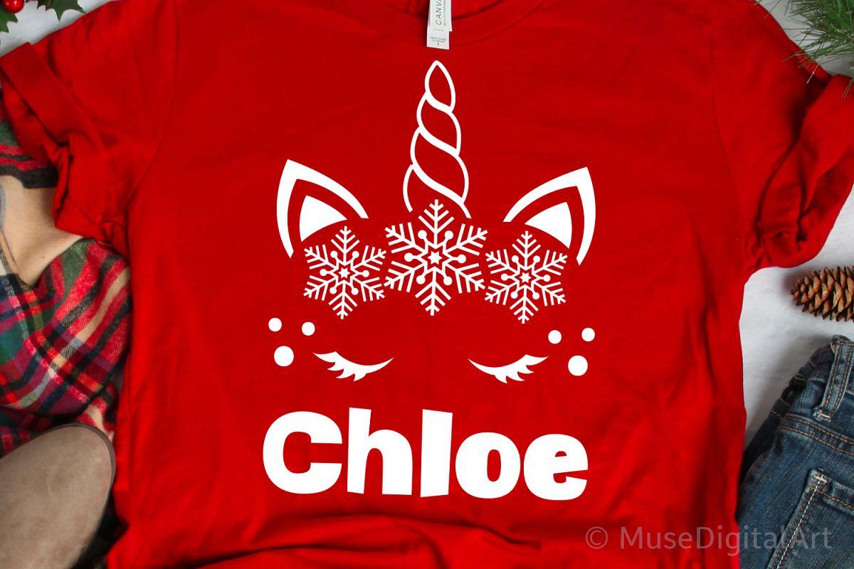 Christmas Unicorn Svg, Snowflake Unicorn Monogram Svg, Girl example image 1