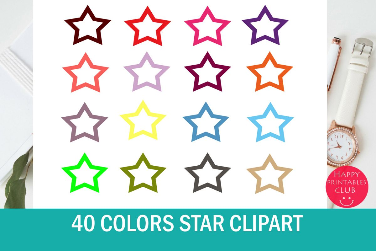 40 Colors Star Clipart Collection example image 1