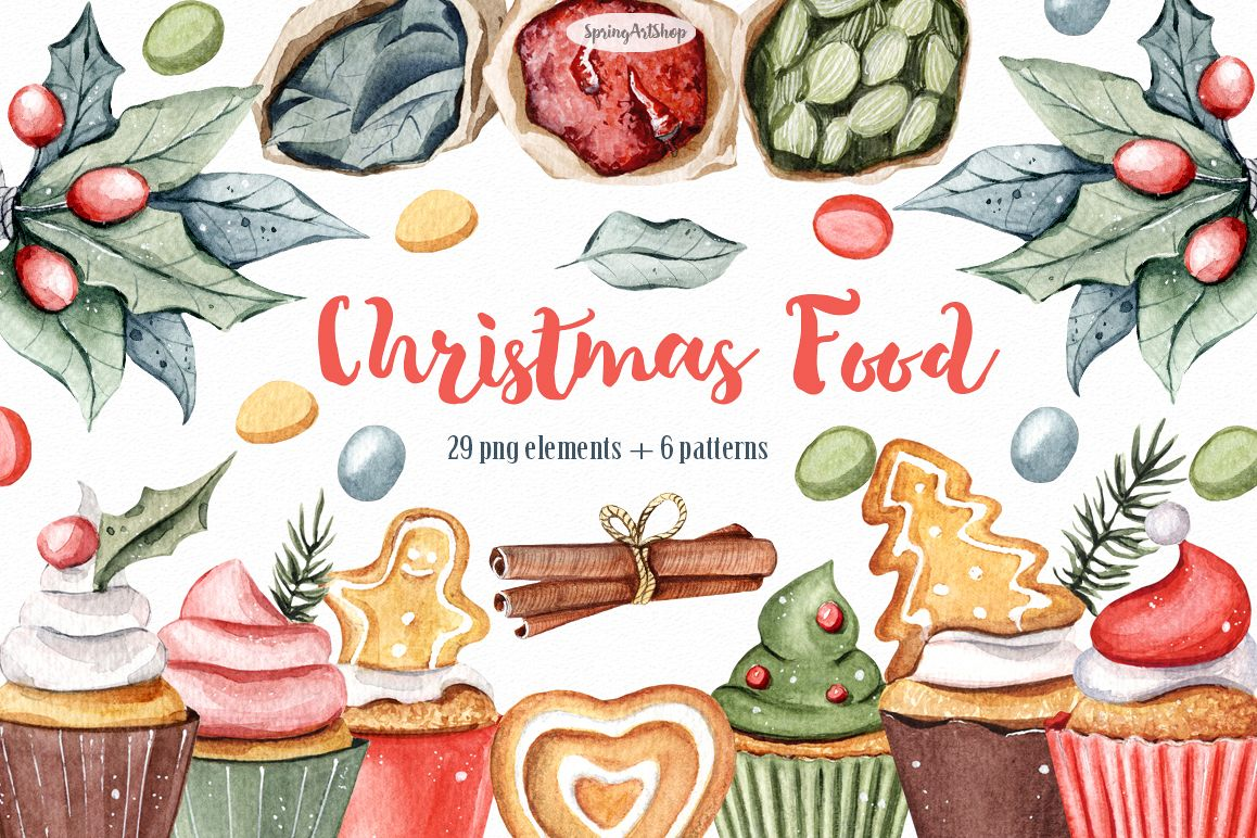 christmas food watercolor clipart by sp design bundles rh designbundles net christmas food drive clipart christmas food cliparts templates
