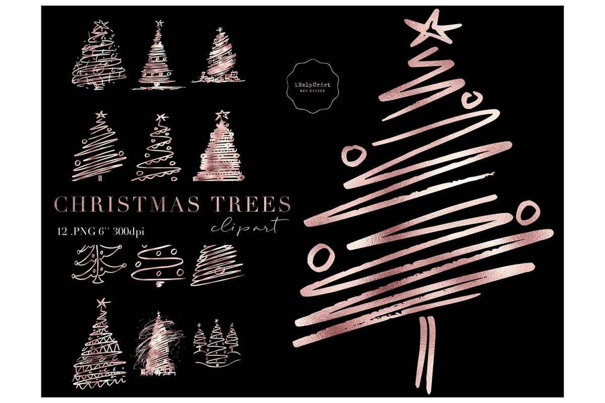 Rose Gold Christmas Trees Clipart example image 1