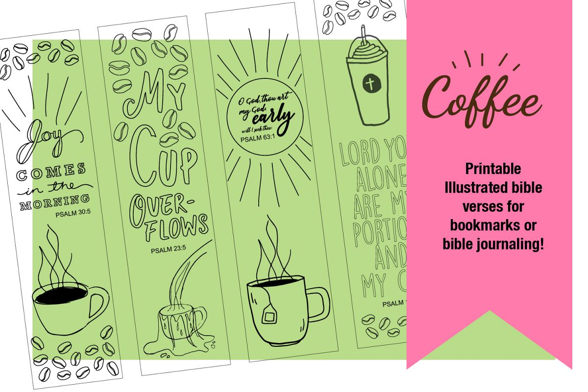 Printable Coloring page Coffee Themed Bible Verses example image 1