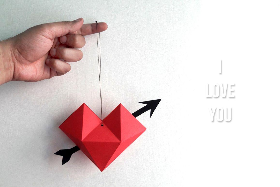 DIY Heart dangler - 3d papercraft example image 1
