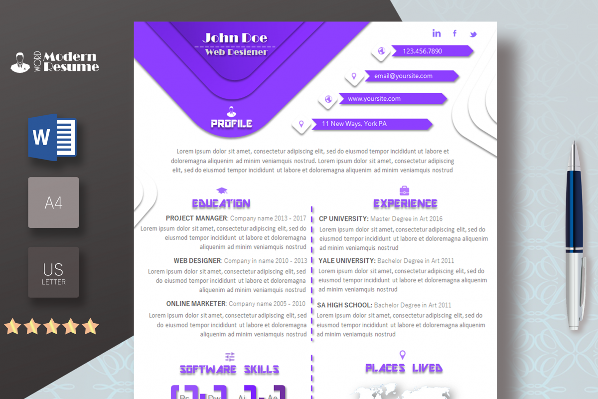 One Page Resume Template & Cover Letter For Microsoft Word