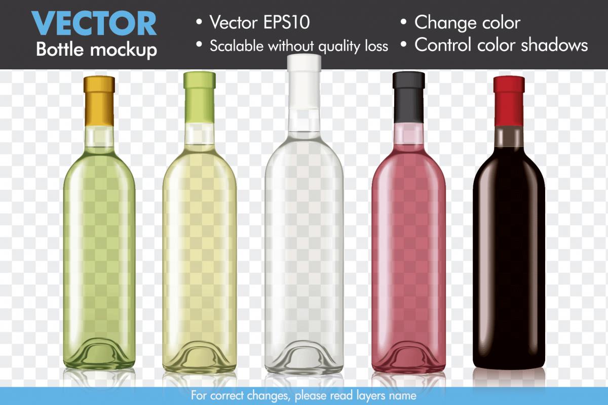 vector wine bottle mock up mockup template