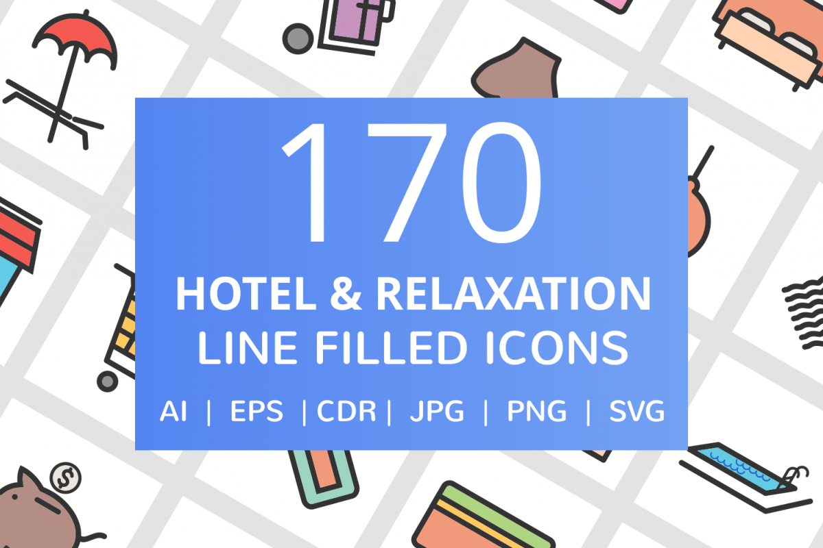 170 Hotel & Relaxation Filled Line Icons example image 1