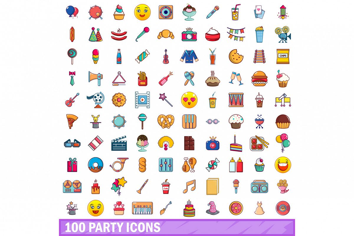 100 party icons set, cartoon style example image 1