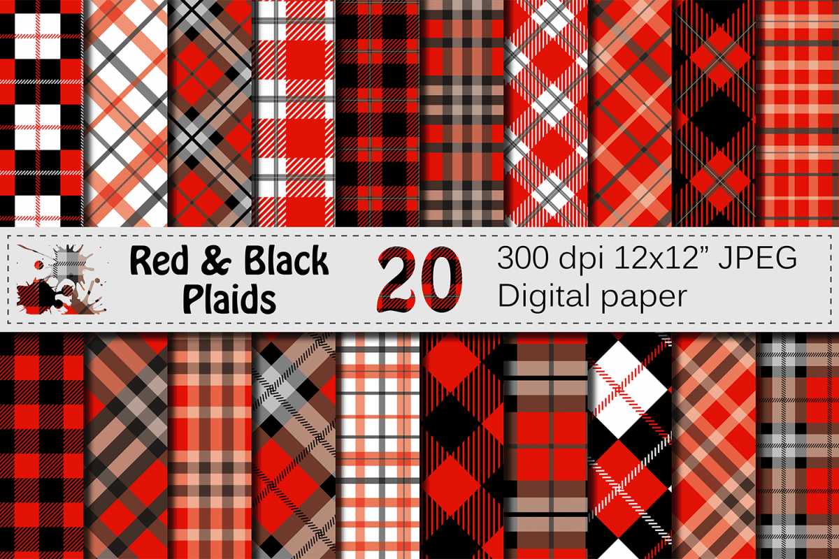 Black and Red Plaids Digital Paper Set example image 1