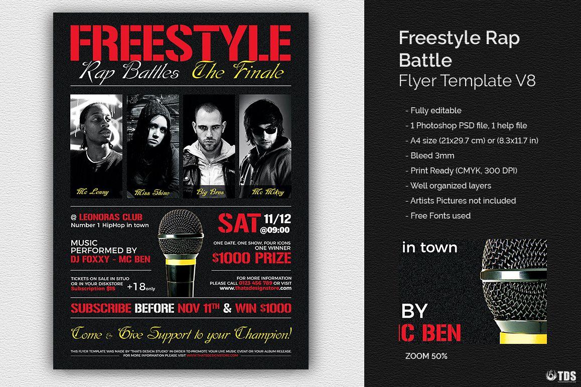 freestyle rap battle flyer template v8 design bundles