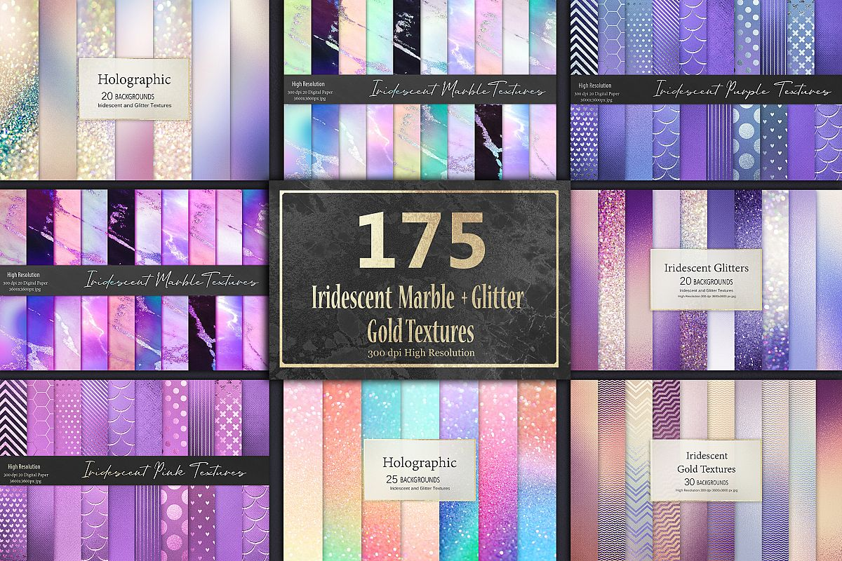 Iridescent Marble and Glitter Textures BUNDLE example image 1