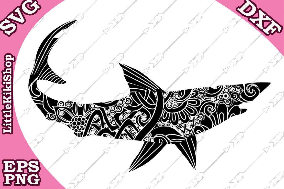 Shark Svg , Mandala Shark Svg,Zentangle Svg,Shark Cut files example image 1