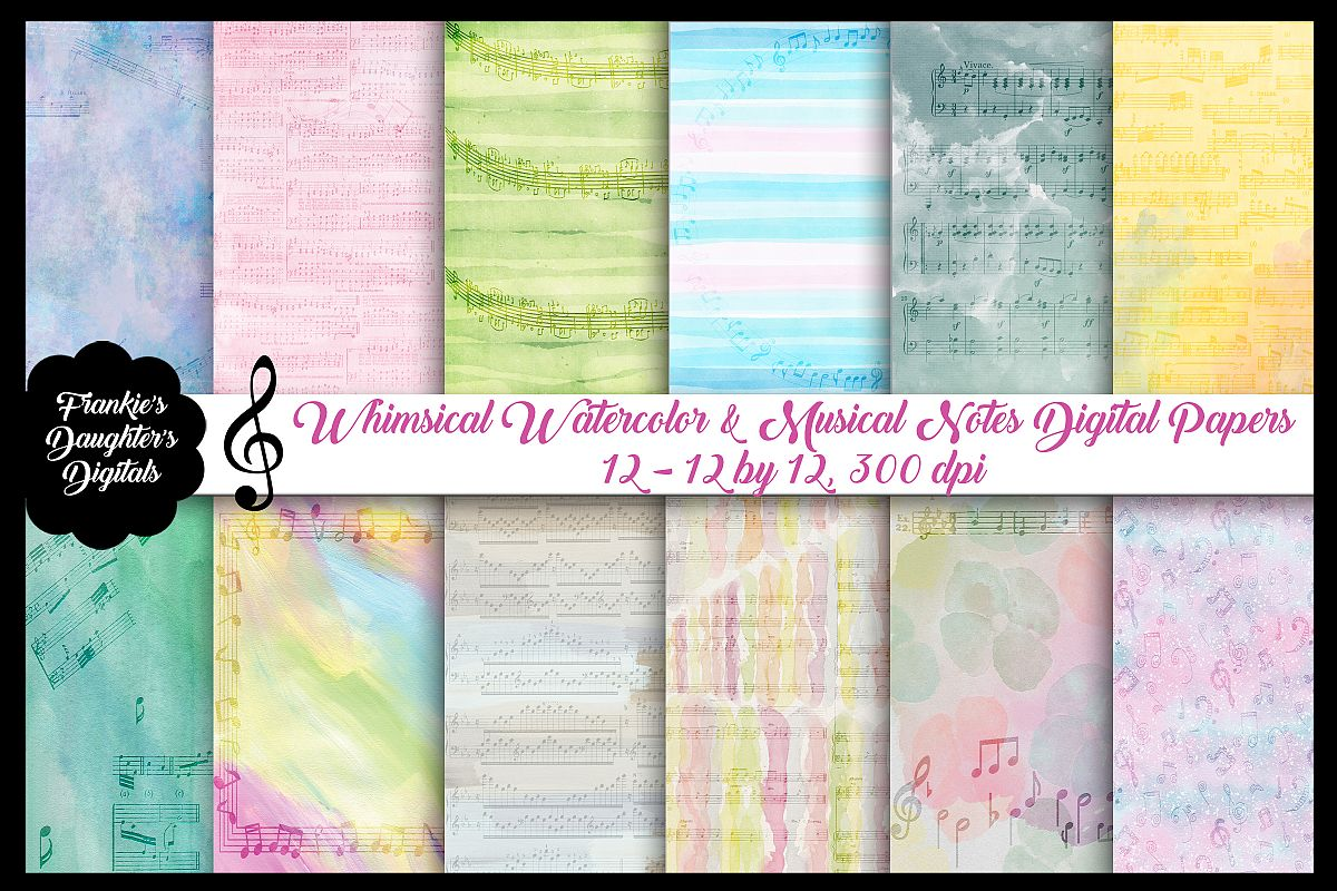 Watercolor Whimsical Musical Notes Digital Papers example image 1