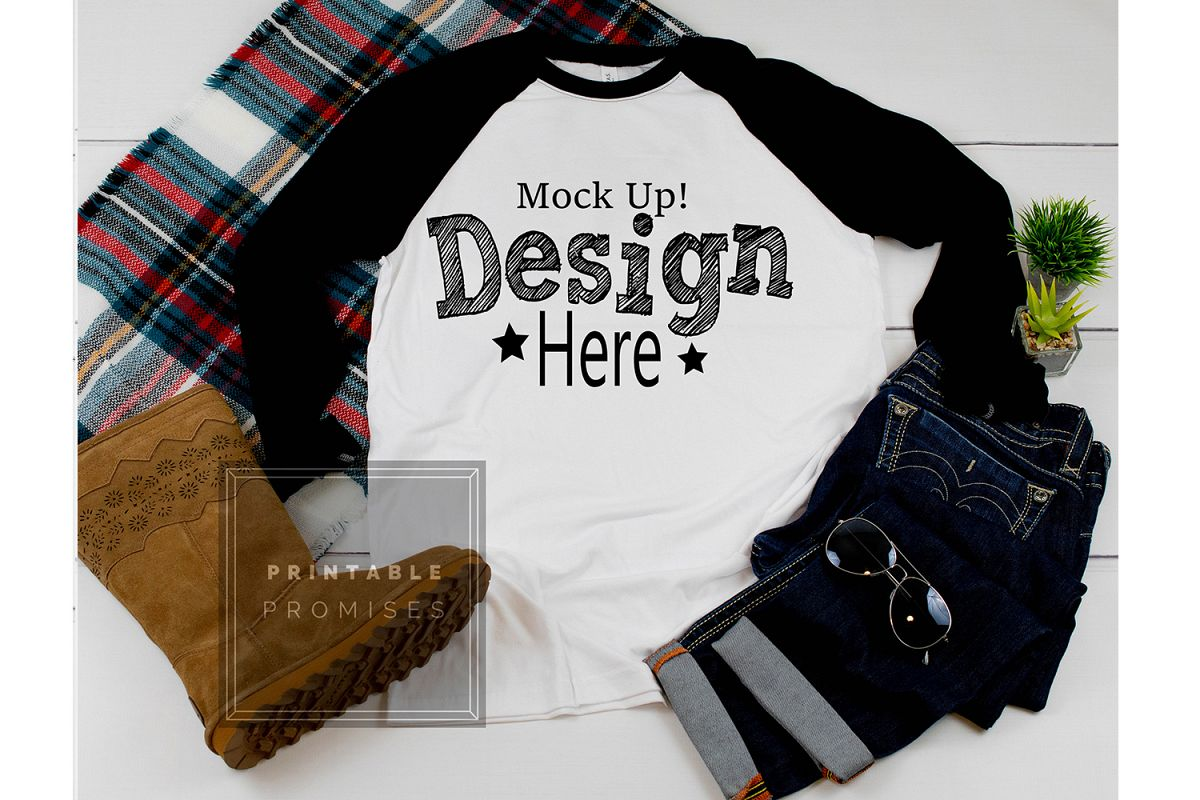 Next Level 6051 Black Raglan Mockup Baseball T-Shirt Mock Up example image 1