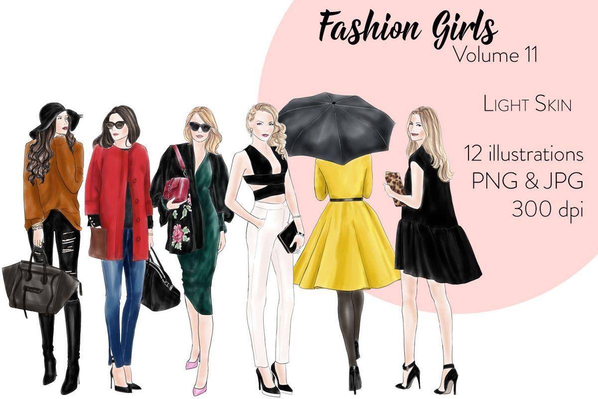 Fashion illustration clipart - Fashion Girls - Volume 11 - Light Skin example image 1