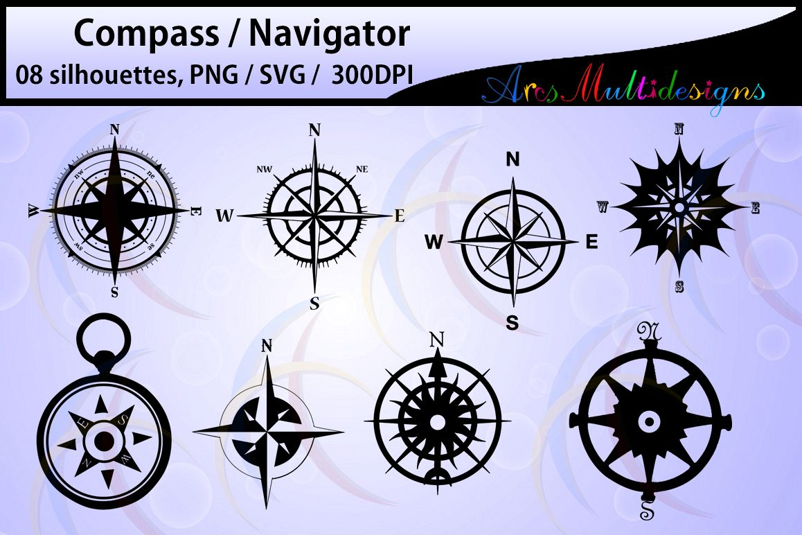 Compass Silhouette / compass svg files / High Quality / clipart / vector / navigator silhouette / Silhouette Studio & Cricut, Vector Art example image 1