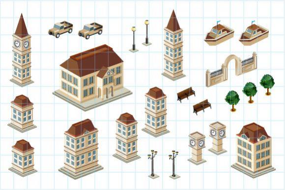 Isometric retro vector city example image 1