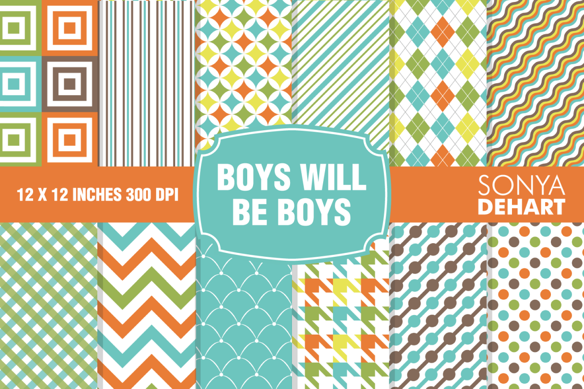 Boys Will Be Boys Digital Paper Pattern Pack example image 1