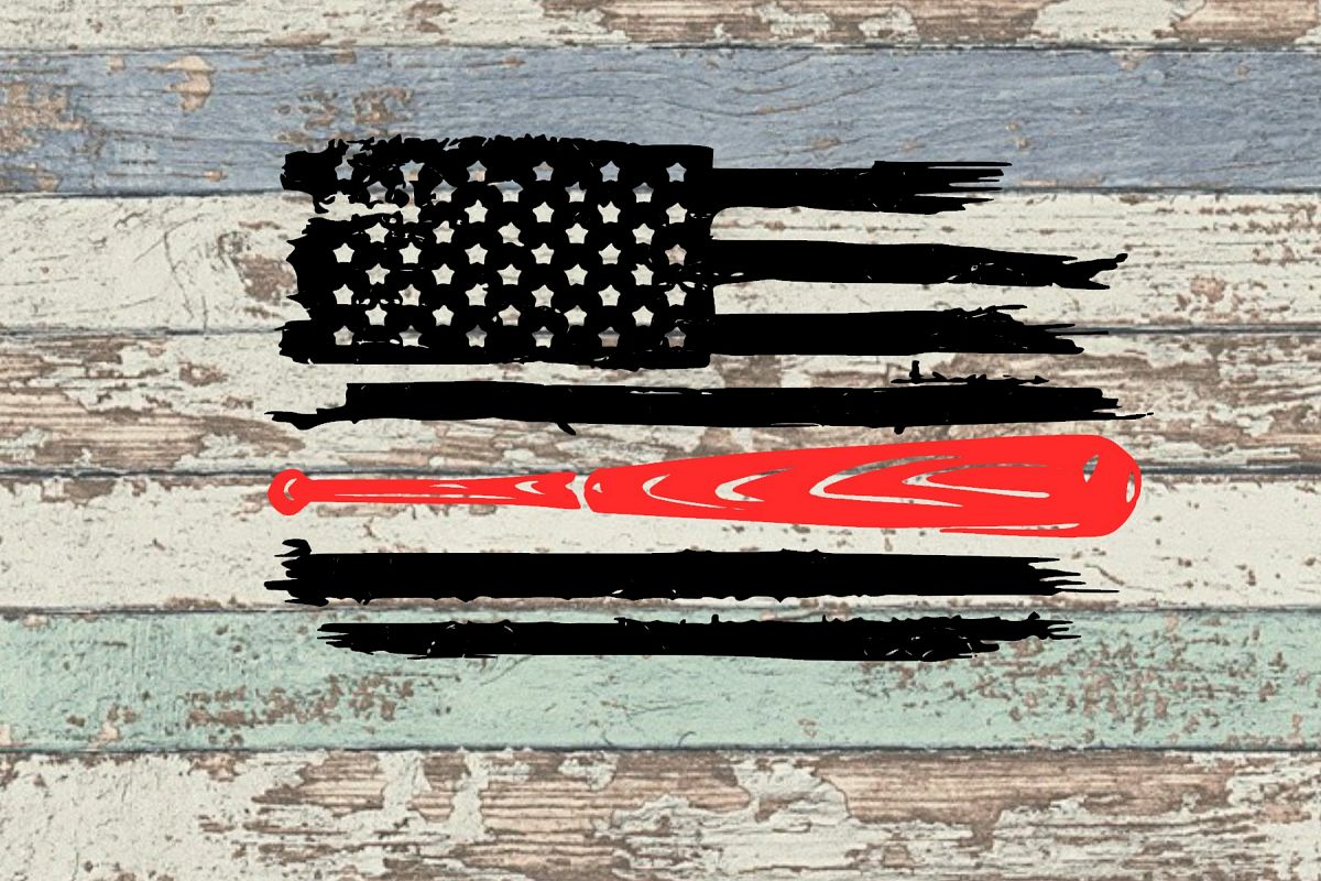 Baseball Bat Distressed Flag SVG EDITED TO ADD DXF AND EPS!!