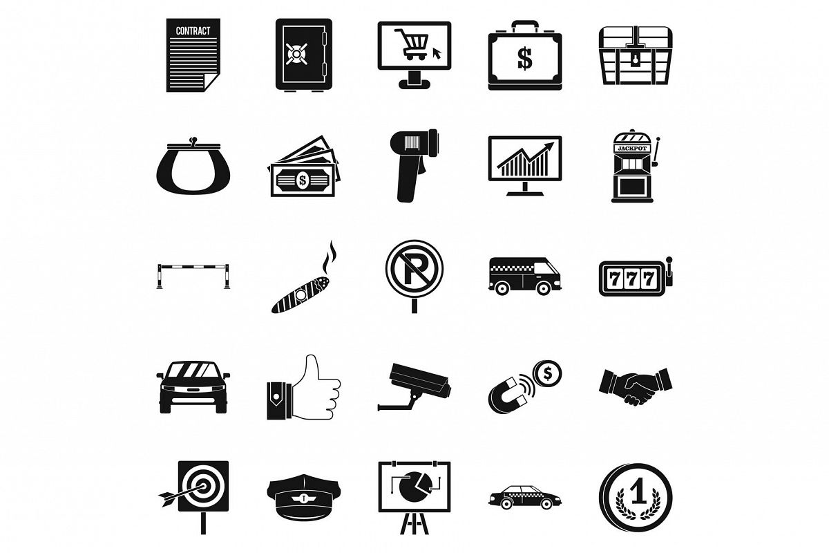 Piece of money icons set, simple style example image 1