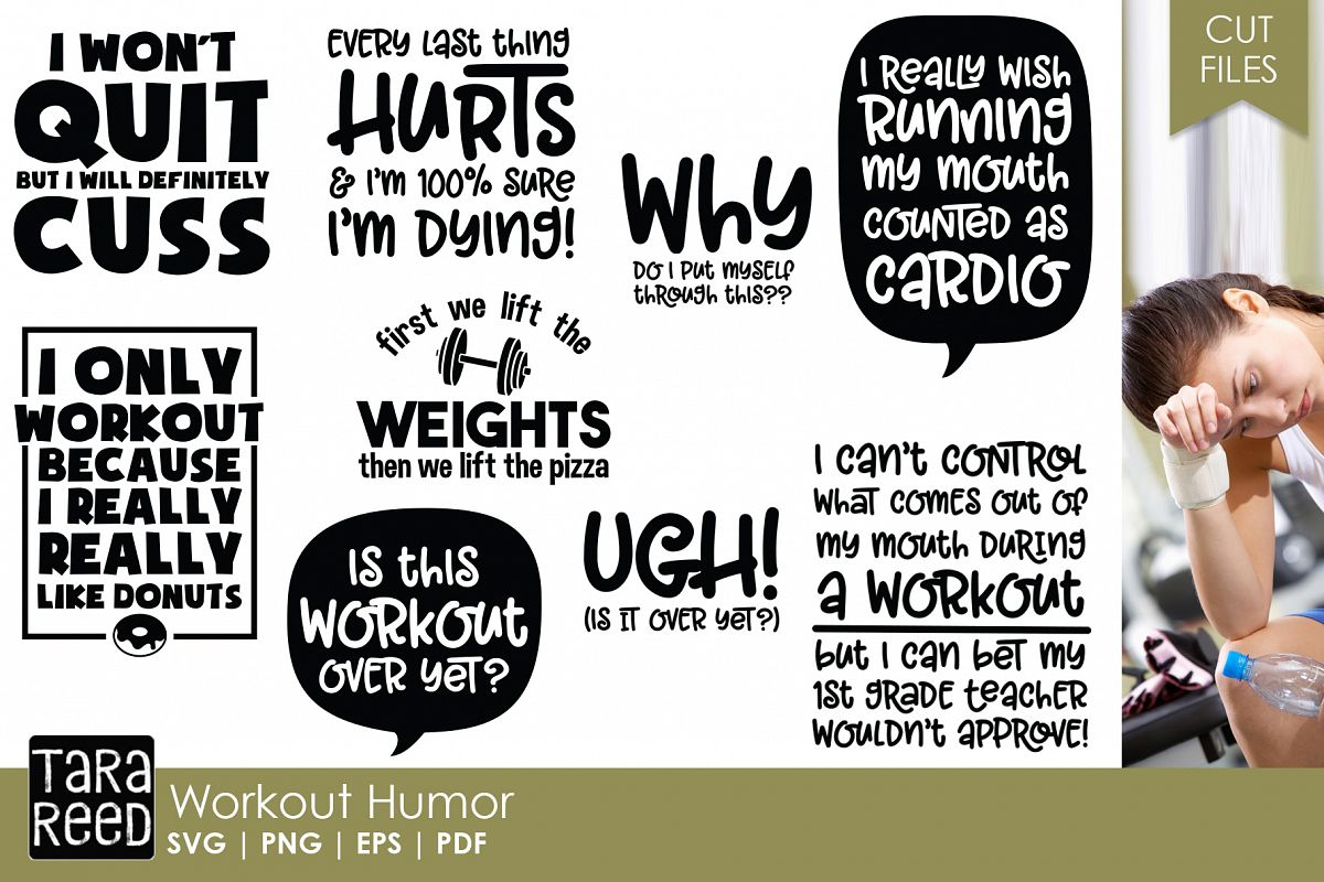 Workout Humor - Fitness SVG & Cut Files for Crafters example image 1
