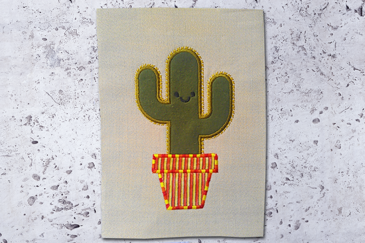 Potted Cactus Applique Embroidery Design example image 1